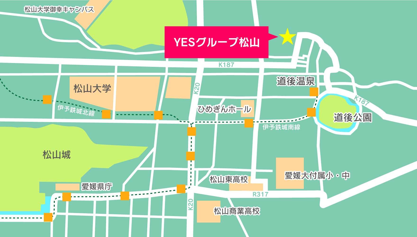 松山中心部のマップ
