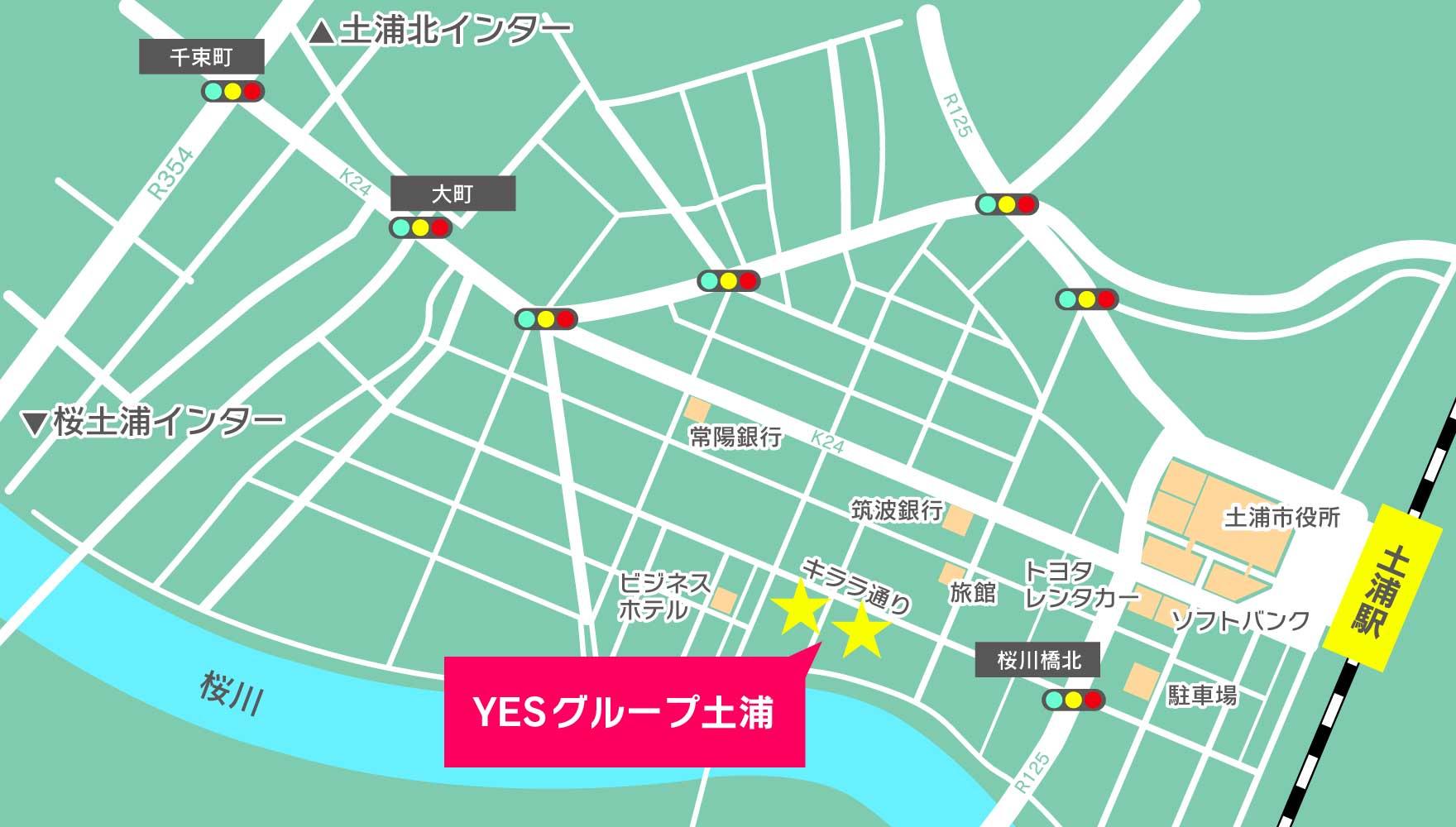 土浦中心部のマップ
