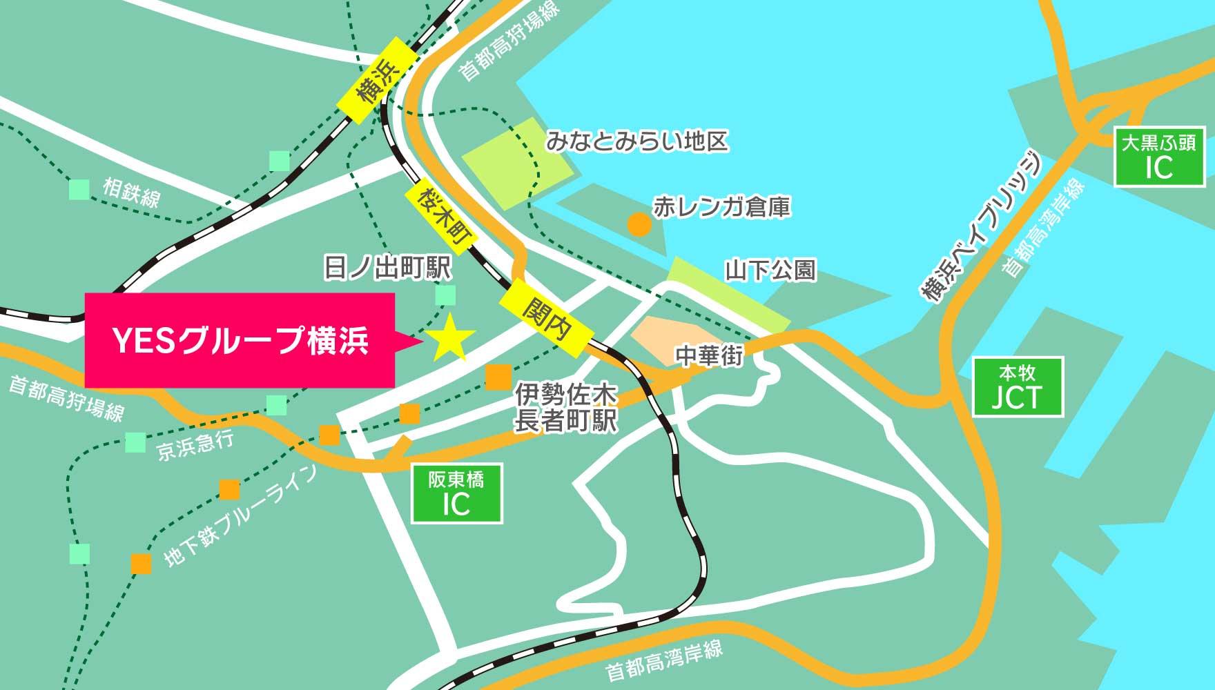 横浜中心部のマップ